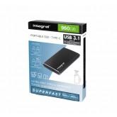 HARDDISK INTEGRAL SSD EXTERN PORTABLE USB C + USB 3.1 960GB