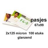 LAMINEERHOES GBC BADGE CARD 67X99MM 2X125MICRON