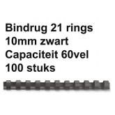 BINDRUG FELLOWES 10MM 21RINGS A4 ZWART