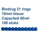 BINDRUG FELLOWES 10MM 21RINGS A4 BLAUW