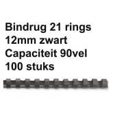 BINDRUG GBC 12MM 21RINGS A4 ZWART
